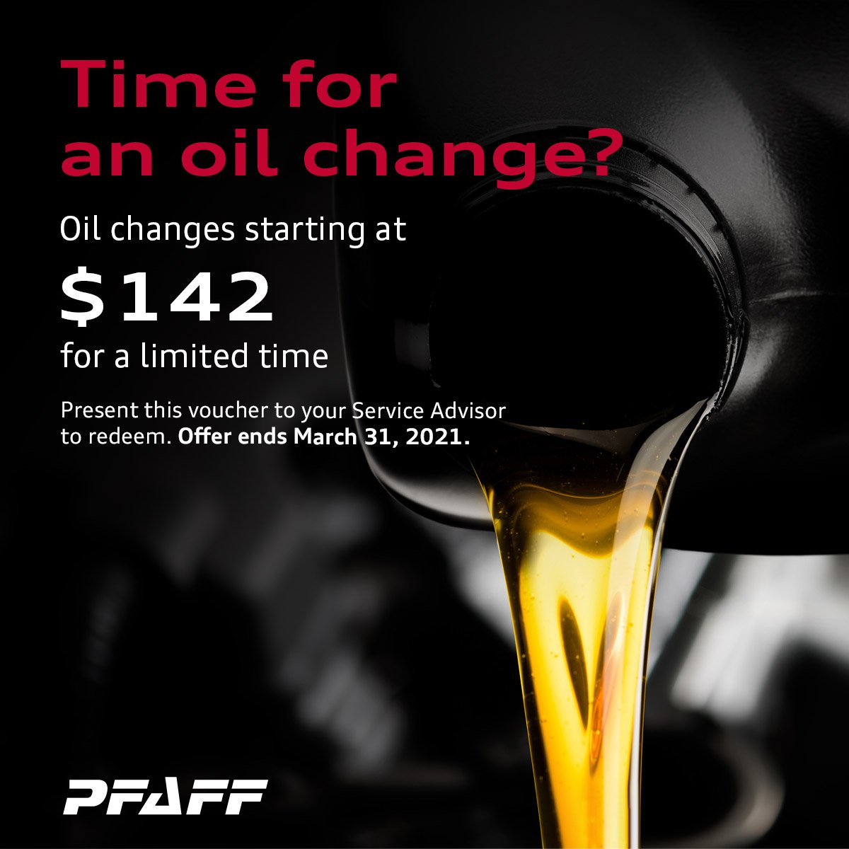 Oil Changes starting at $142 for a limited time
