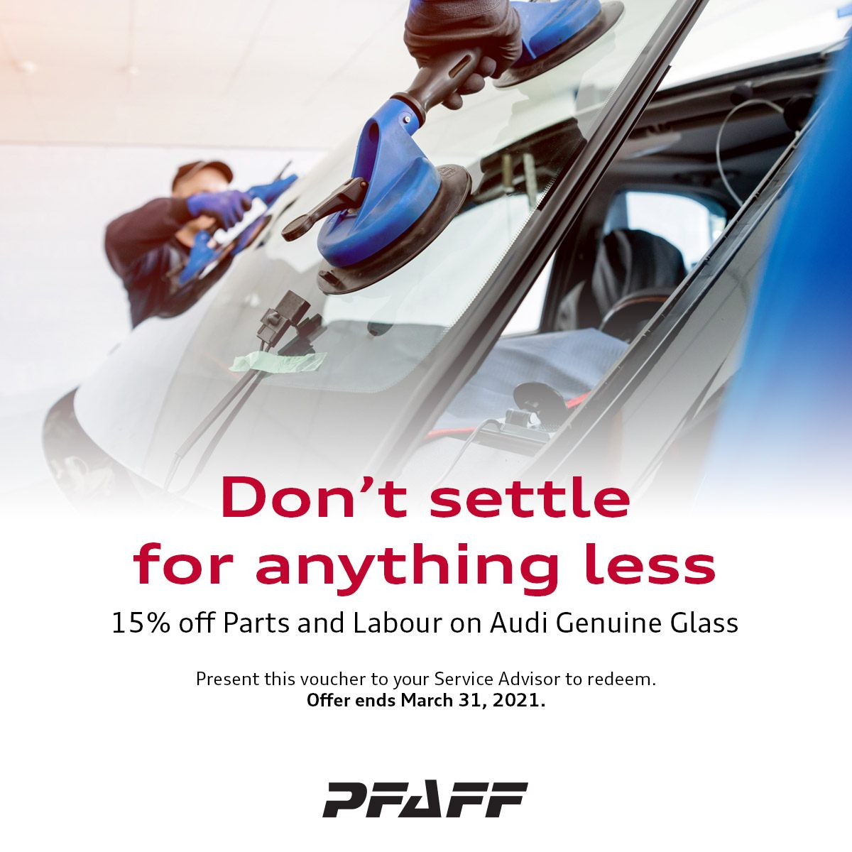 15% off Parts and Labour on Audi Genuine Glass